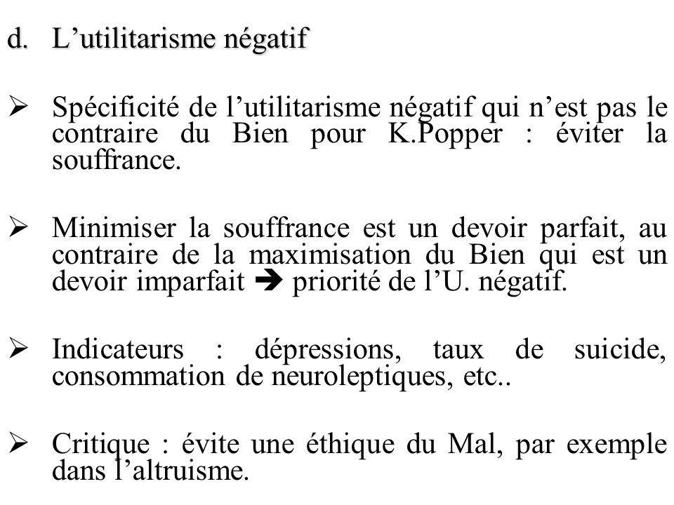 d.Lutilitarisme négatif Spécificité de lutilitarisme négatif qui nest pas le contraire du Bien pour K.Popper : éviter la souffrance. Minimiser la souf