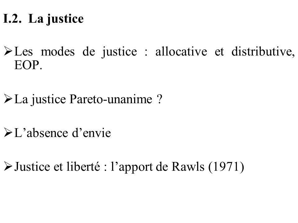 I.2. La justice Les modes de justice : allocative et distributive, EOP. La justice Pareto-unanime ? Labsence denvie Justice et liberté : lapport de Ra