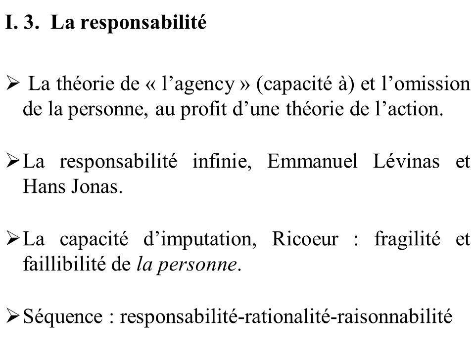 I. 3. La responsabilité La théorie de « lagency » (capacité à) et lomission de la personne, au profit dune théorie de laction. La responsabilité infin