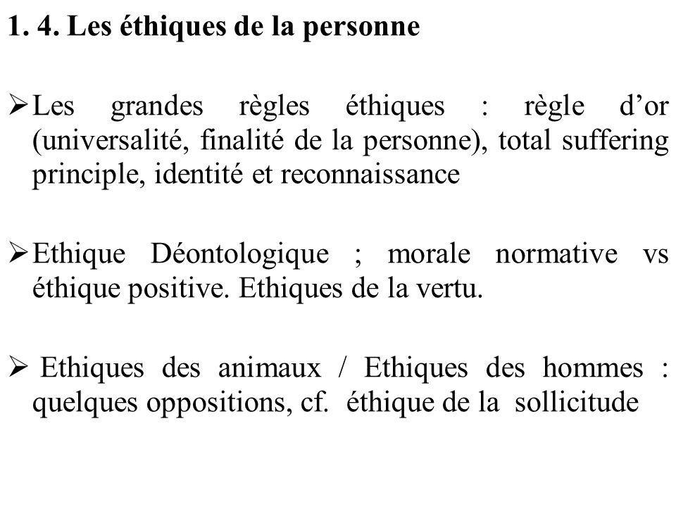 1. 4. Les éthiques de la personne Les grandes règles éthiques : règle dor (universalité, finalité de la personne), total suffering principle, identité