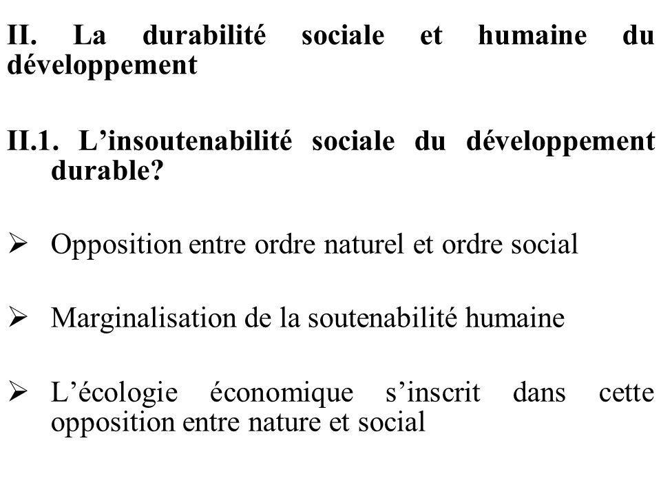 II. La durabilité sociale et humaine du développement II.1. Linsoutenabilité sociale du développement durable? Opposition entre ordre naturel et ordre