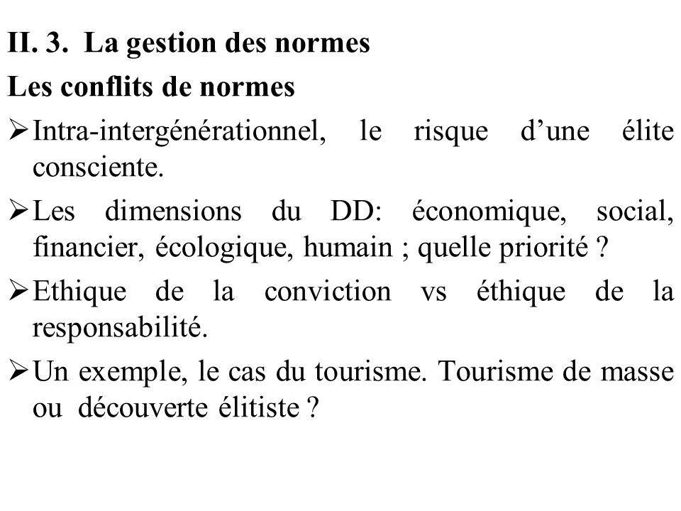 II. 3. La gestion des normes Les conflits de normes Intra-intergénérationnel, le risque dune élite consciente. Les dimensions du DD: économique, socia