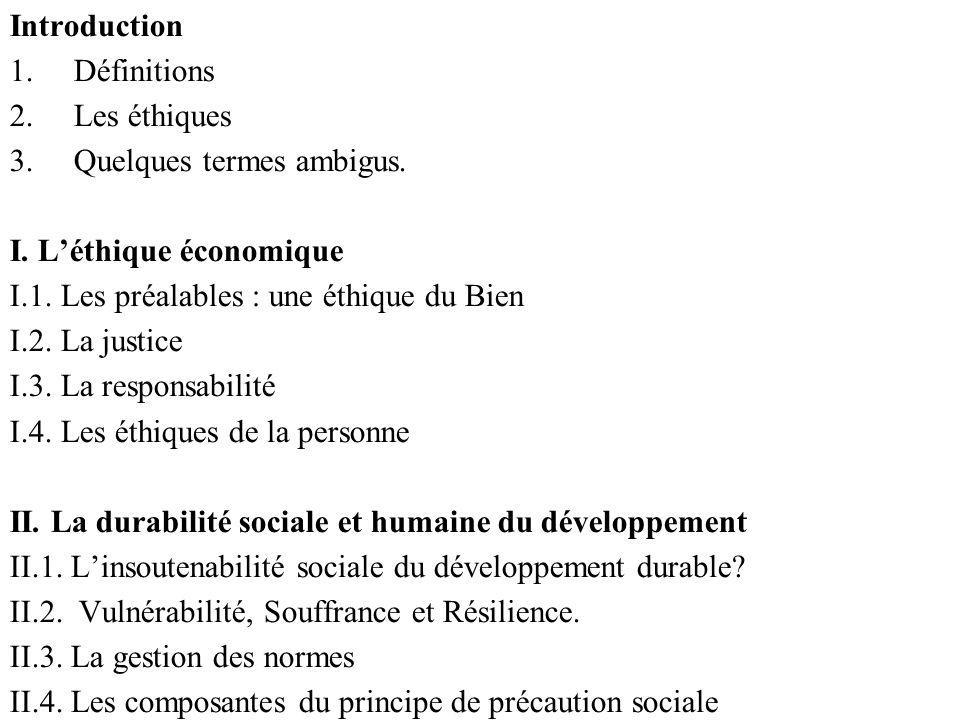 Introduction 1.Définitions 2.Les éthiques 3.Quelques termes ambigus. I. Léthique économique I.1. Les préalables : une éthique du Bien I.2. La justice