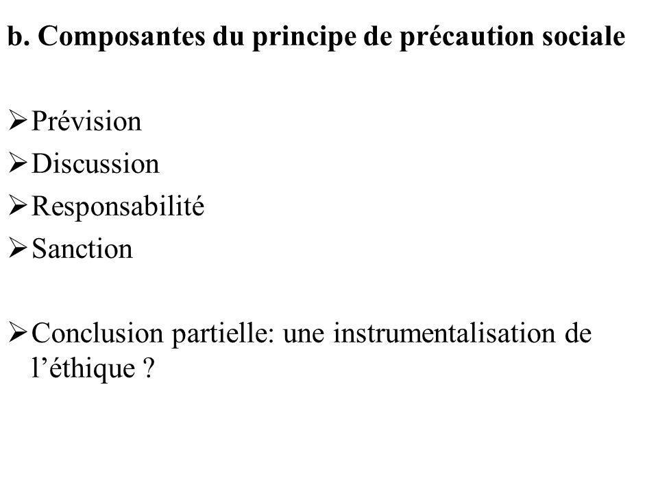 b. Composantes du principe de précaution sociale Prévision Discussion Responsabilité Sanction Conclusion partielle: une instrumentalisation de léthiqu