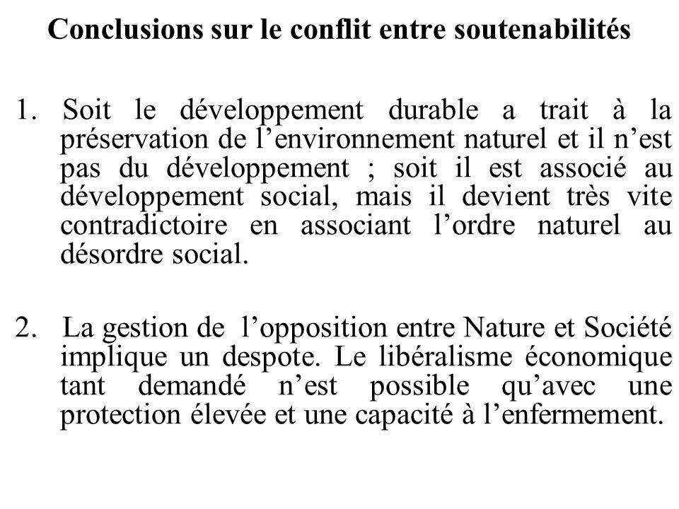 Conclusions sur le conflit entre soutenabilités 1. Soit le développement durable a trait à la préservation de lenvironnement naturel et il nest pas du