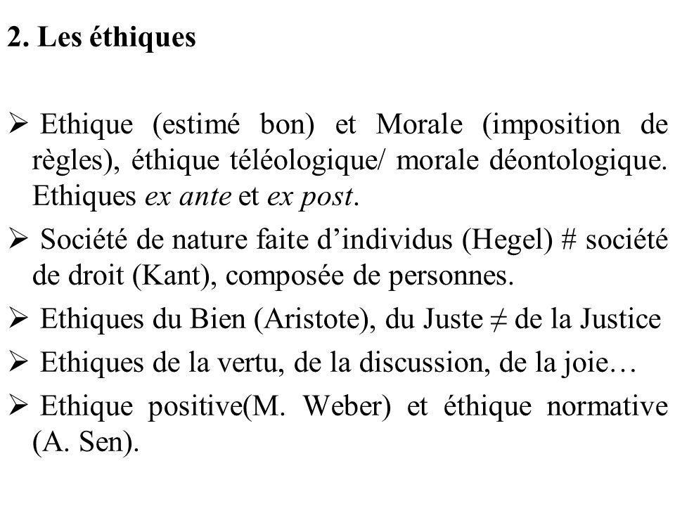 2. Les éthiques Ethique (estimé bon) et Morale (imposition de règles), éthique téléologique/ morale déontologique. Ethiques ex ante et ex post. Sociét