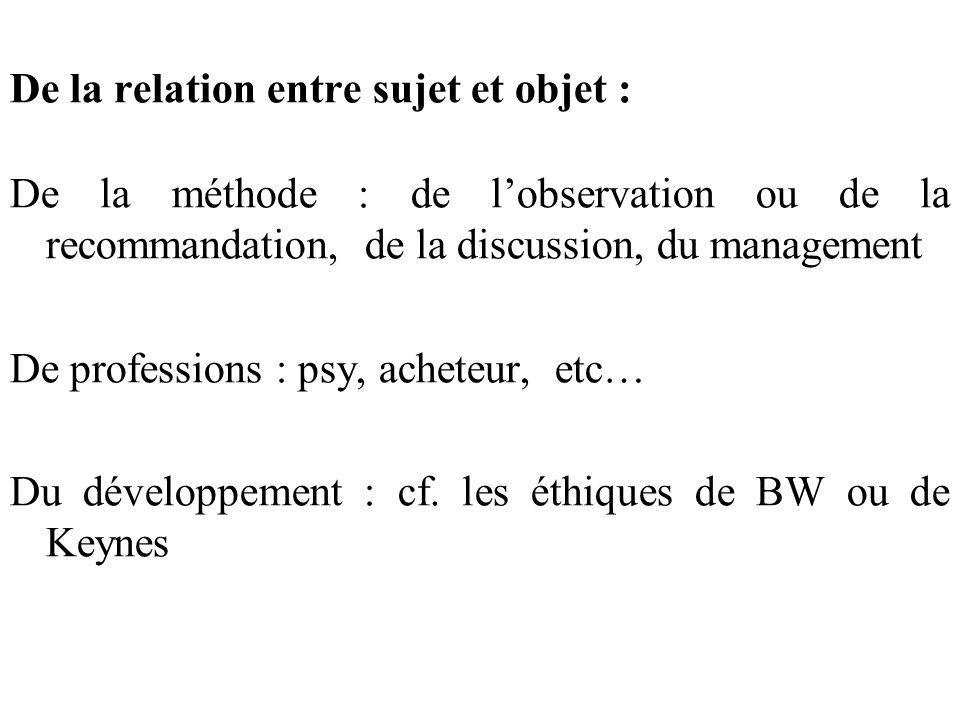 De la relation entre sujet et objet : De la méthode : de lobservation ou de la recommandation, de la discussion, du management De professions : psy, a