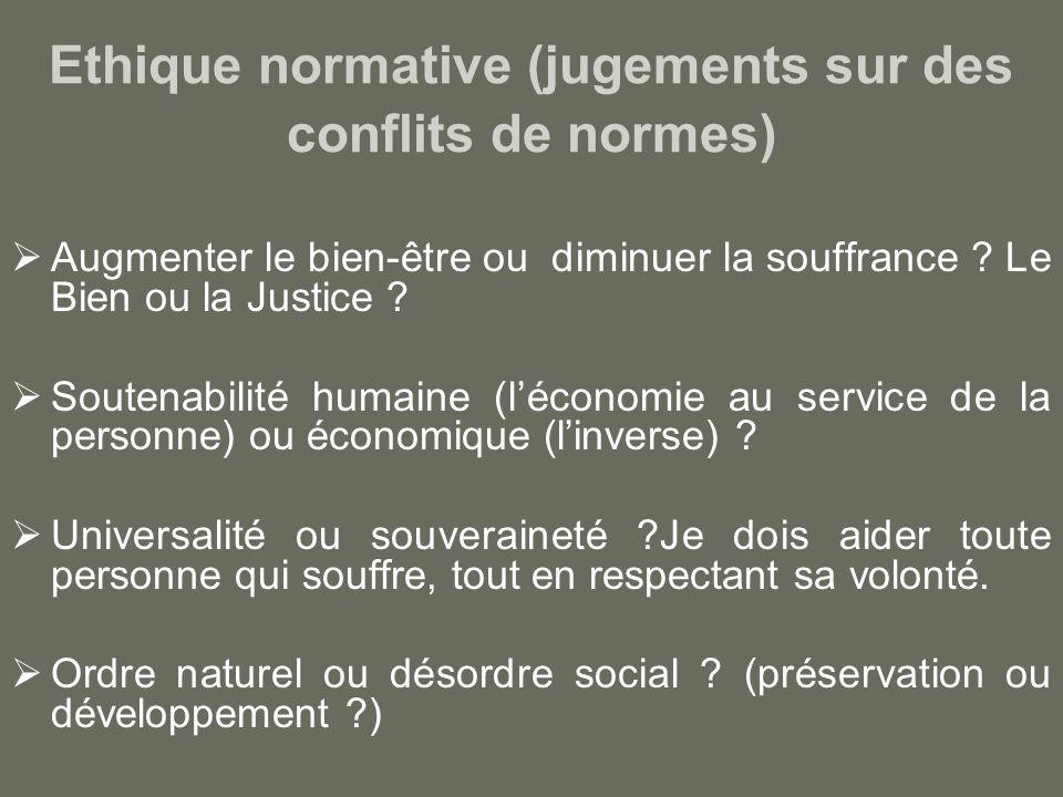 Ethique normative (jugements sur des conflits de normes) Augmenter le bien-être ou diminuer la souffrance .