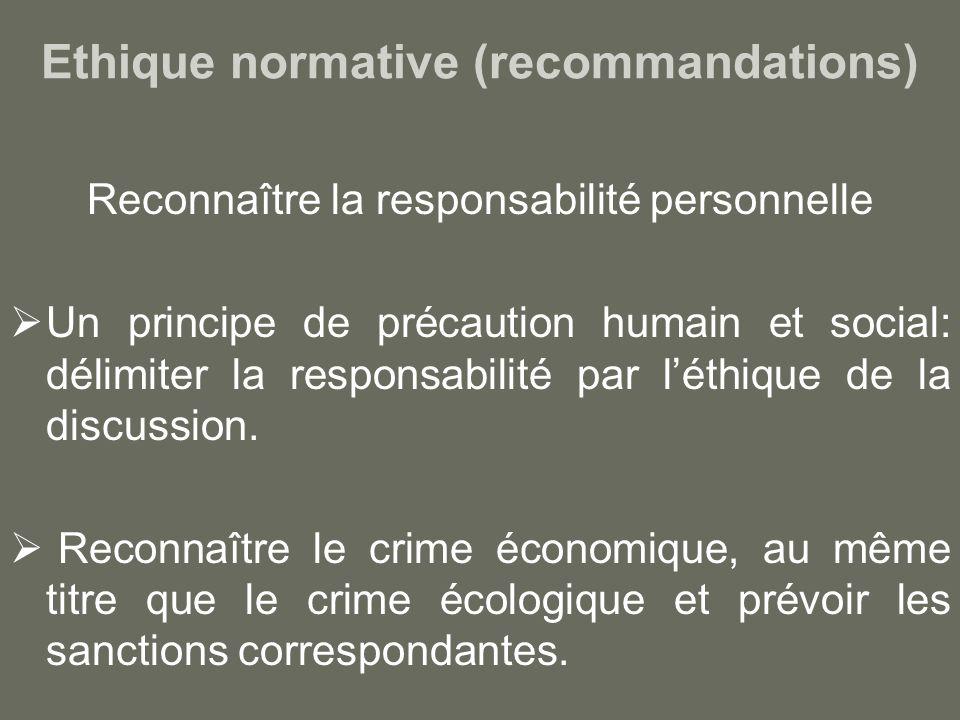 Ethique normative (recommandations) Reconnaître la responsabilité personnelle Un principe de précaution humain et social: délimiter la responsabilité par léthique de la discussion.