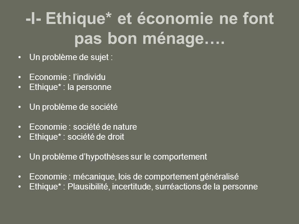 -I- Ethique* et économie ne font pas bon ménage….