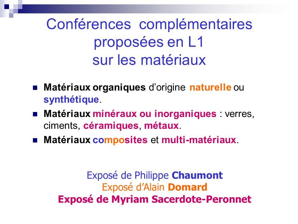 Matériaux organiques dorigine naturelle ou synthétique. Matériaux minéraux ou inorganiques : verres, ciments, céramiques, métaux. Matériaux composites