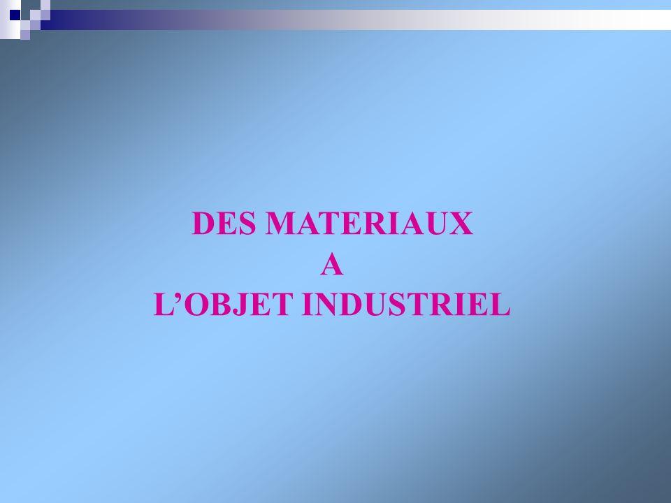 DES MATERIAUX A LOBJET INDUSTRIEL