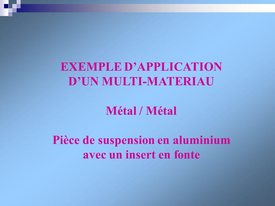 EXEMPLE DAPPLICATION DUN MULTI-MATERIAU Métal / Métal Pièce de suspension en aluminium avec un insert en fonte