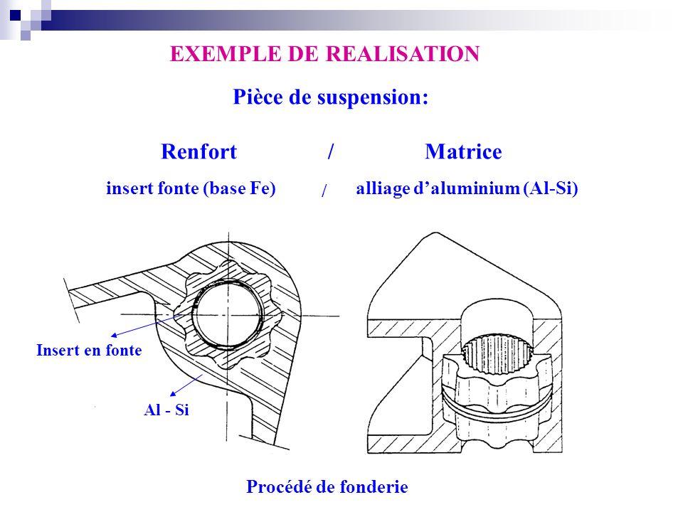 EXEMPLE DE REALISATION Al - Si Insert en fonte Procédé de fonderie Pièce de suspension: Renfort / Matrice insert fonte (base Fe)alliage daluminium (Al