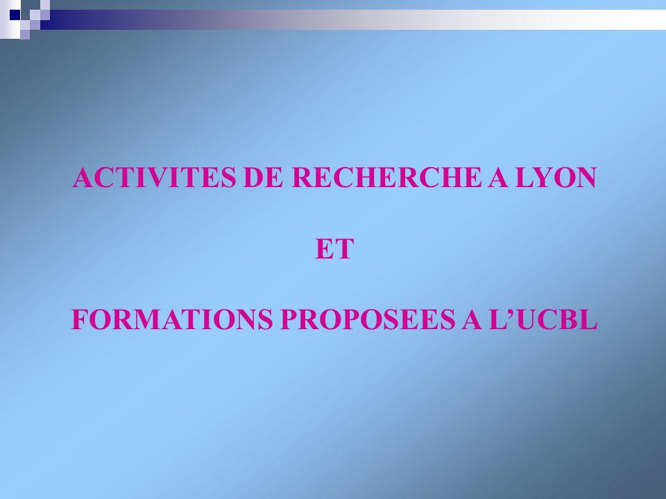 ACTIVITES DE RECHERCHE A LYON ET FORMATIONS PROPOSEES A LUCBL