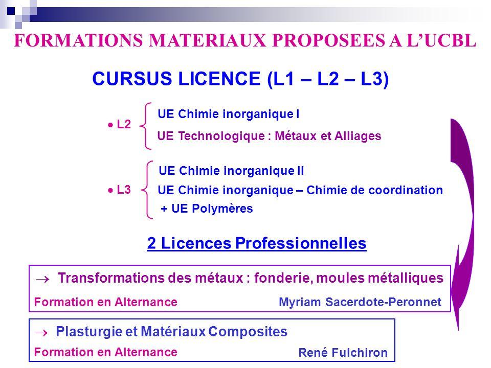 FORMATIONS MATERIAUX PROPOSEES A LUCBL CURSUS LICENCE (L1 – L2 – L3) 2 Licences Professionnelles Transformations des métaux : fonderie, moules métalli