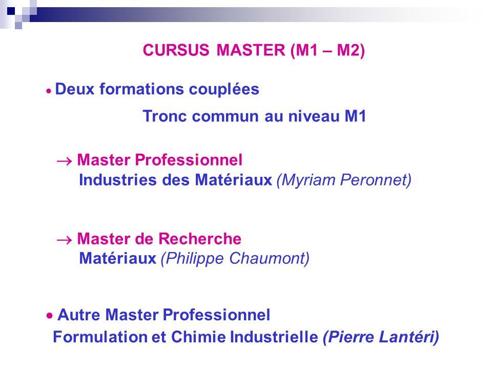 CURSUS MASTER (M1 – M2) Master Professionnel Industries des Matériaux (Myriam Peronnet) Master de Recherche Matériaux (Philippe Chaumont) Deux formati