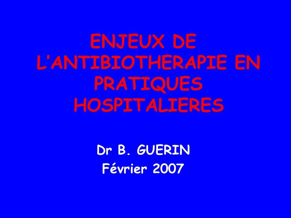 ENJEUX DE LANTIBIOTHERAPIE EN PRATIQUES HOSPITALIERES Dr B. GUERIN Février 2007