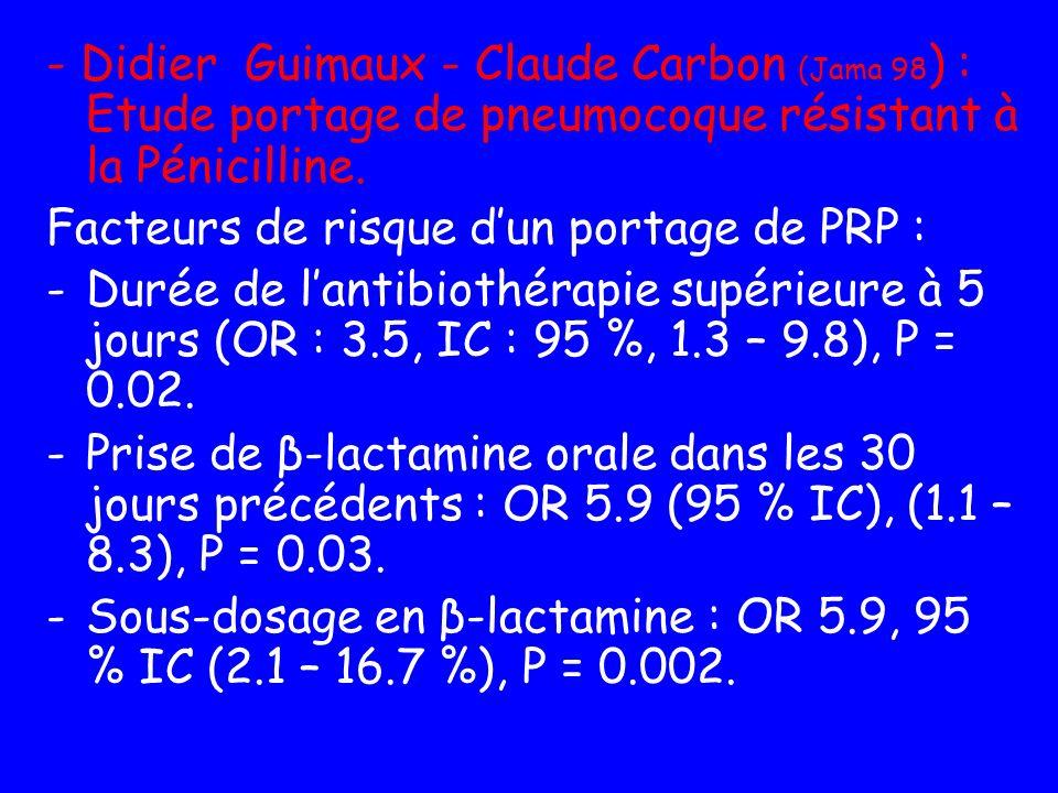 - Didier Guimaux - Claude Carbon (Jama 98 ) : Etude portage de pneumocoque résistant à la Pénicilline. Facteurs de risque dun portage de PRP : -Durée
