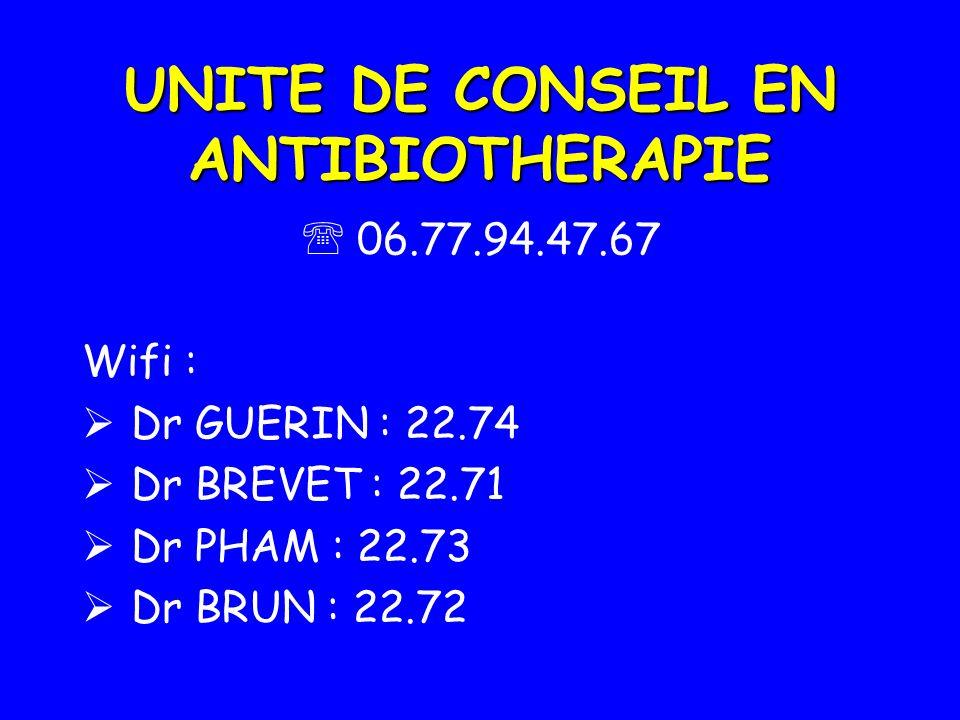 UNITE DE CONSEIL EN ANTIBIOTHERAPIE 06.77.94.47.67 Wifi : Dr GUERIN : 22.74 Dr BREVET : 22.71 Dr PHAM : 22.73 Dr BRUN : 22.72