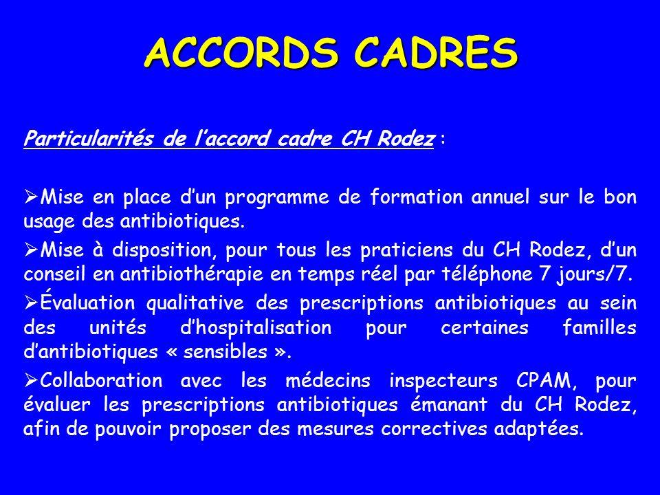 ACCORDS CADRES Particularités de laccord cadre CH Rodez : Mise en place dun programme de formation annuel sur le bon usage des antibiotiques. Mise à d