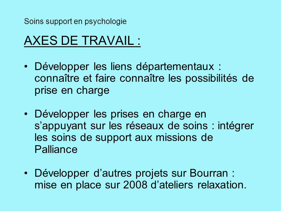 Soins support en psychologie AXES DE TRAVAIL : Développer les liens départementaux : connaître et faire connaître les possibilités de prise en charge