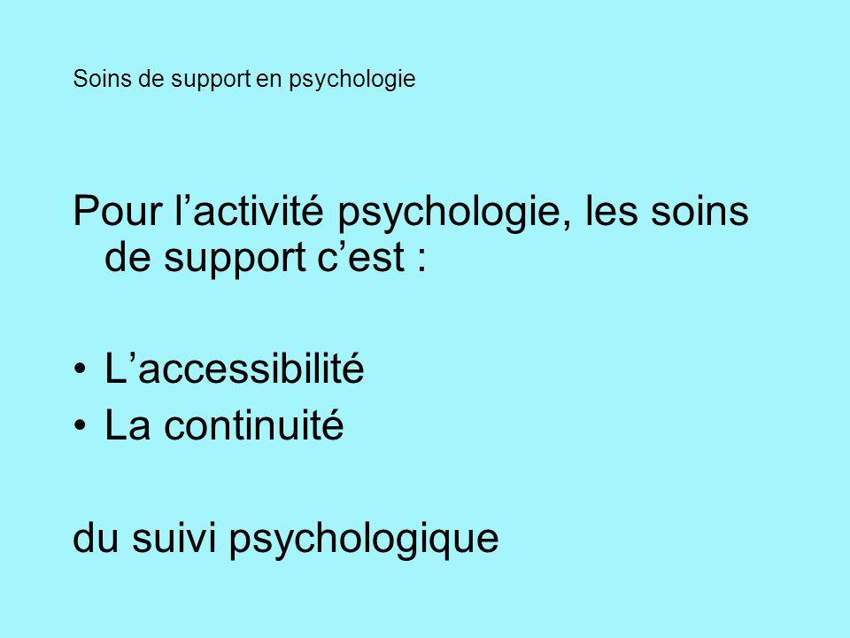 Soins de support en psychologie Pour lactivité psychologie, les soins de support cest : Laccessibilité La continuité du suivi psychologique