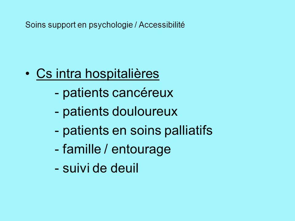 Soins support en psychologie / Accessibilité Cs inter hospitalières - mêmes critères via EMSPD - mêmes critères via Palliance pour les patients inclus Cs à domicile - mêmes critères via EMSPD et Palliance