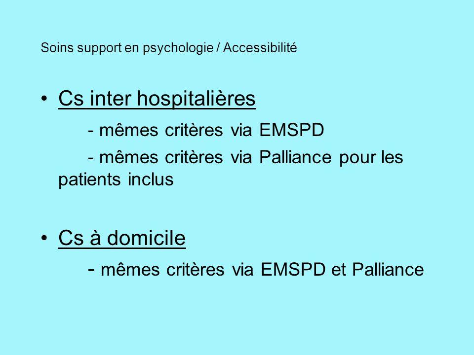 Soins support en psychologie / Accessibilité Cs inter hospitalières - mêmes critères via EMSPD - mêmes critères via Palliance pour les patients inclus