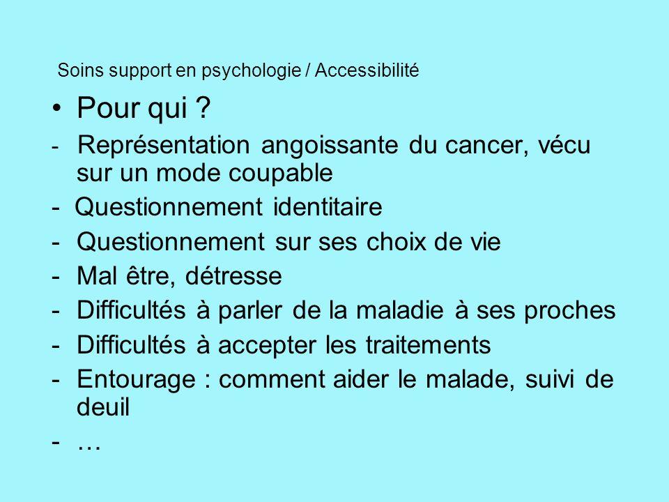 Soins support en psychologie / Accessibilité Pour qui ? - Représentation angoissante du cancer, vécu sur un mode coupable - Questionnement identitaire