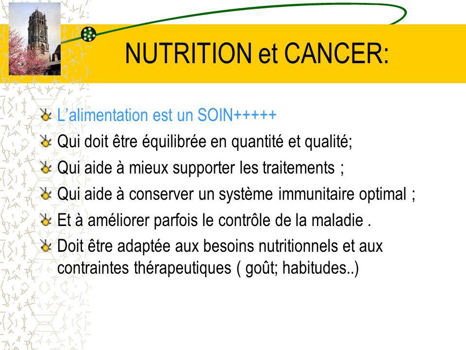 NUTRITION et CANCER: Lalimentation est un SOIN+++++ Qui doit être équilibrée en quantité et qualité; Qui aide à mieux supporter les traitements ; Qui