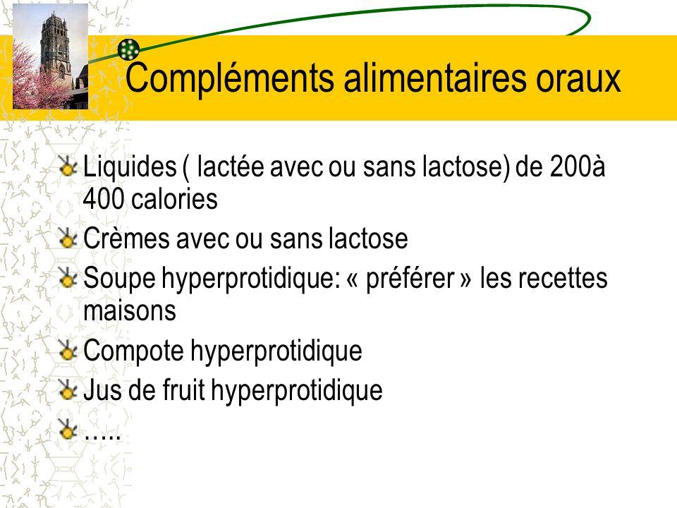Compléments alimentaires oraux Liquides ( lactée avec ou sans lactose) de 200à 400 calories Crèmes avec ou sans lactose Soupe hyperprotidique: « préfé
