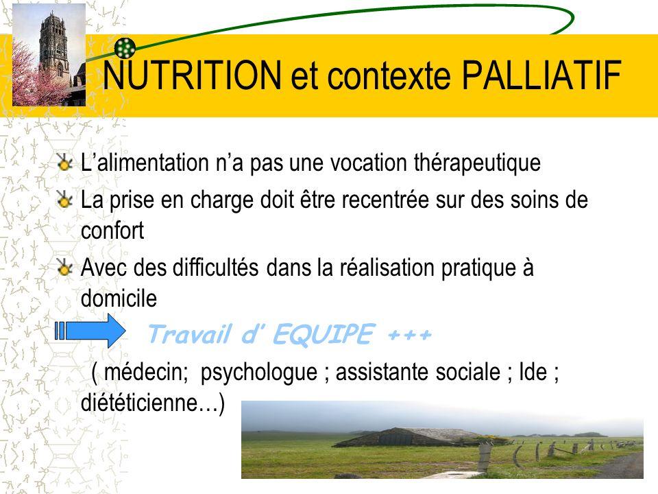 NUTRITION et contexte PALLIATIF Lalimentation na pas une vocation thérapeutique La prise en charge doit être recentrée sur des soins de confort Avec d
