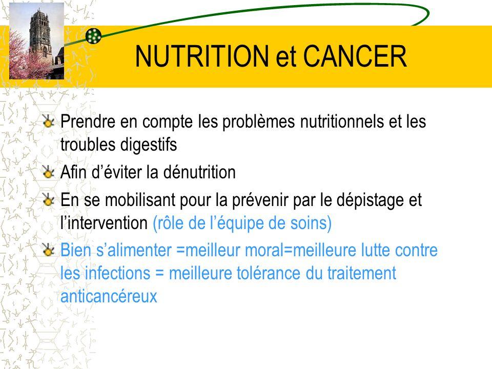 NUTRITION et CANCER Prendre en compte les problèmes nutritionnels et les troubles digestifs Afin déviter la dénutrition En se mobilisant pour la préve