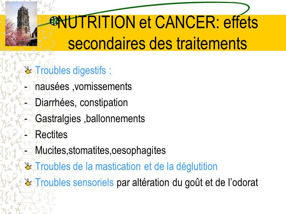 NUTRITION et CANCER: effets secondaires des traitements Troubles digestifs : -nausées,vomissements -Diarrhées, constipation -Gastralgies,ballonnements