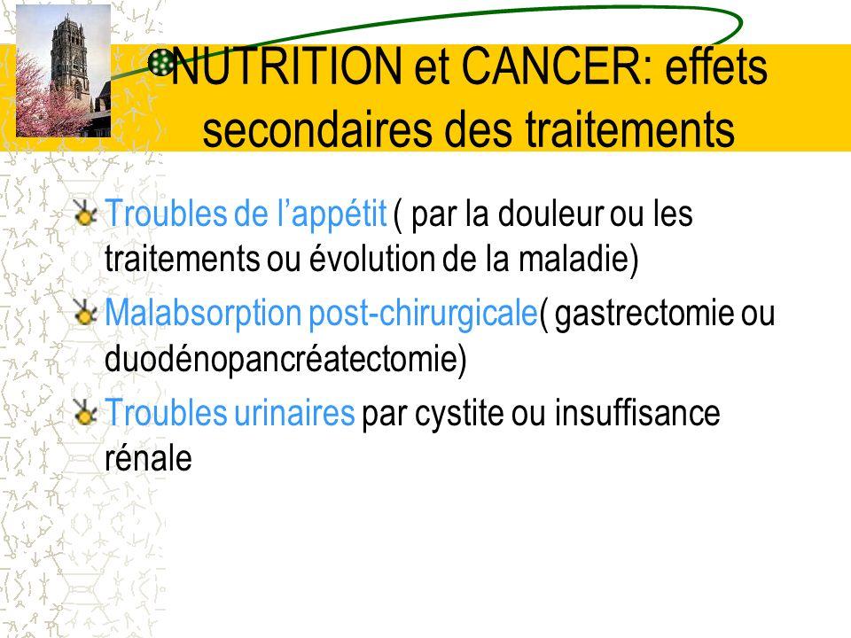 NUTRITION et CANCER: effets secondaires des traitements Troubles de lappétit ( par la douleur ou les traitements ou évolution de la maladie) Malabsorp