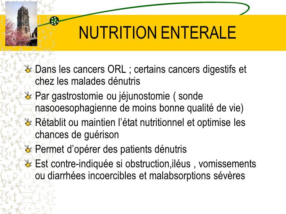 NUTRITION ENTERALE Dans les cancers ORL ; certains cancers digestifs et chez les malades dénutris Par gastrostomie ou jéjunostomie ( sonde nasooesopha