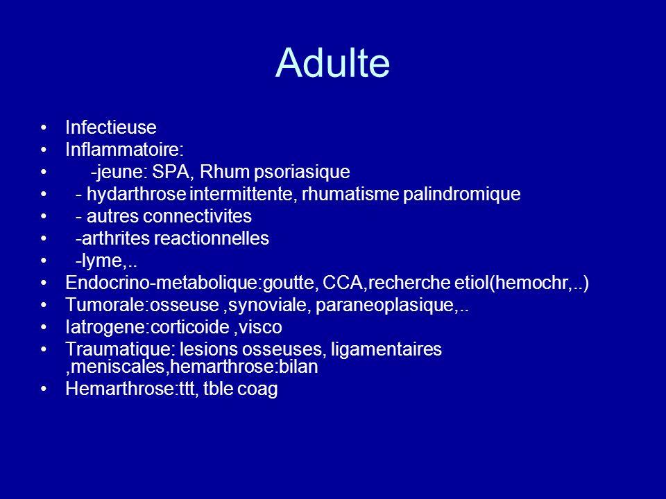 Adulte Infectieuse Inflammatoire: -jeune: SPA, Rhum psoriasique - hydarthrose intermittente, rhumatisme palindromique - autres connectivites -arthrite
