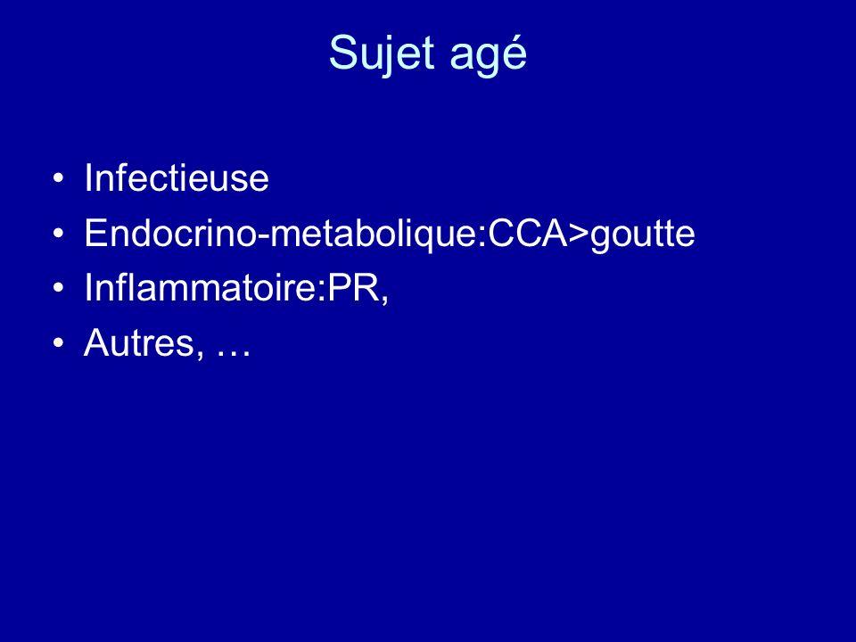 Sujet agé Infectieuse Endocrino-metabolique:CCA>goutte Inflammatoire:PR, Autres, …