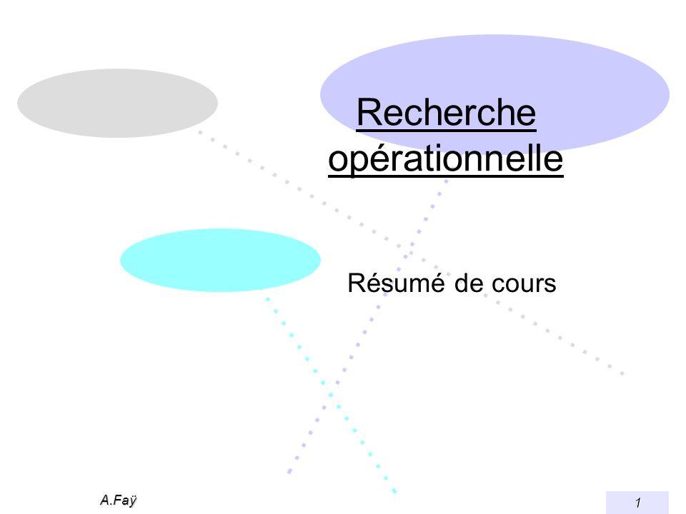 A.Faÿ 1 Recherche opérationnelle Résumé de cours