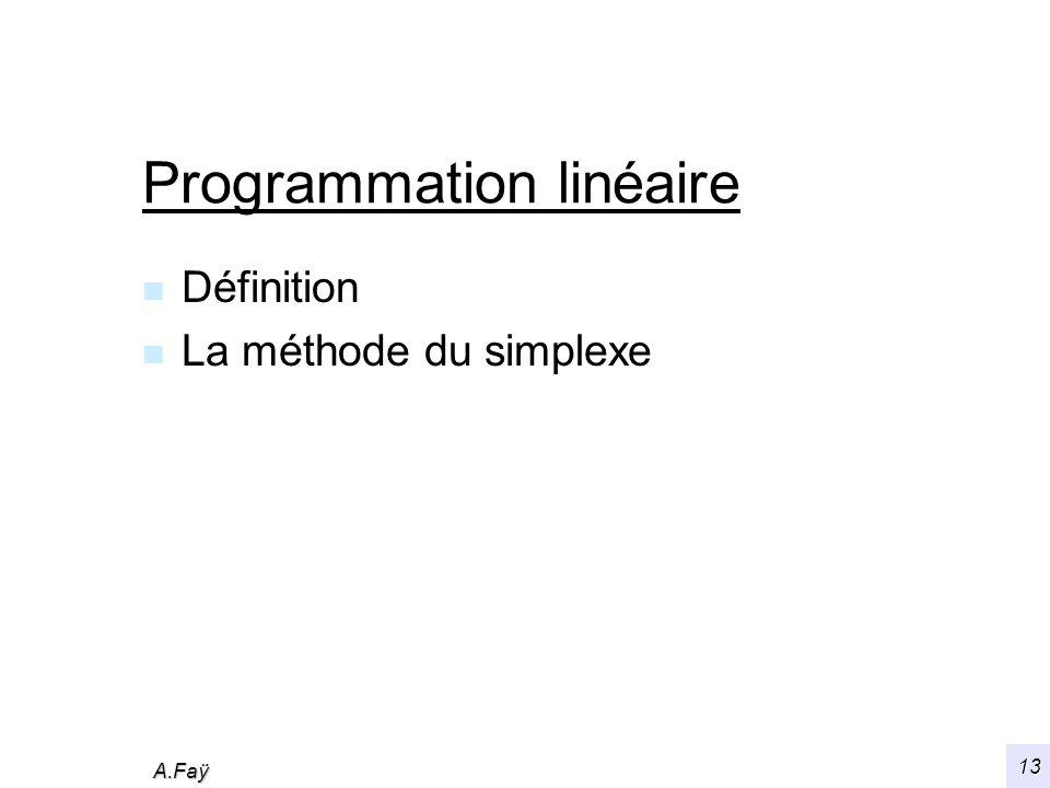 A.Faÿ 13 Programmation linéaire n Définition n La méthode du simplexe