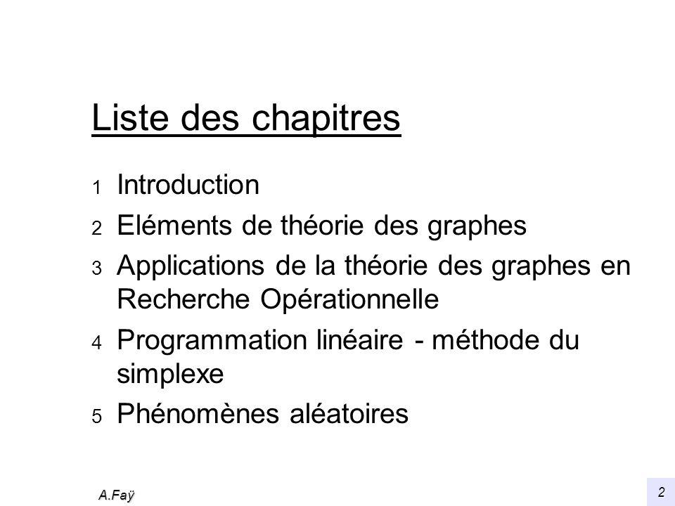 A.Faÿ 2 Liste des chapitres 1 Introduction 2 Eléments de théorie des graphes 3 Applications de la théorie des graphes en Recherche Opérationnelle 4 Programmation linéaire - méthode du simplexe 5 Phénomènes aléatoires