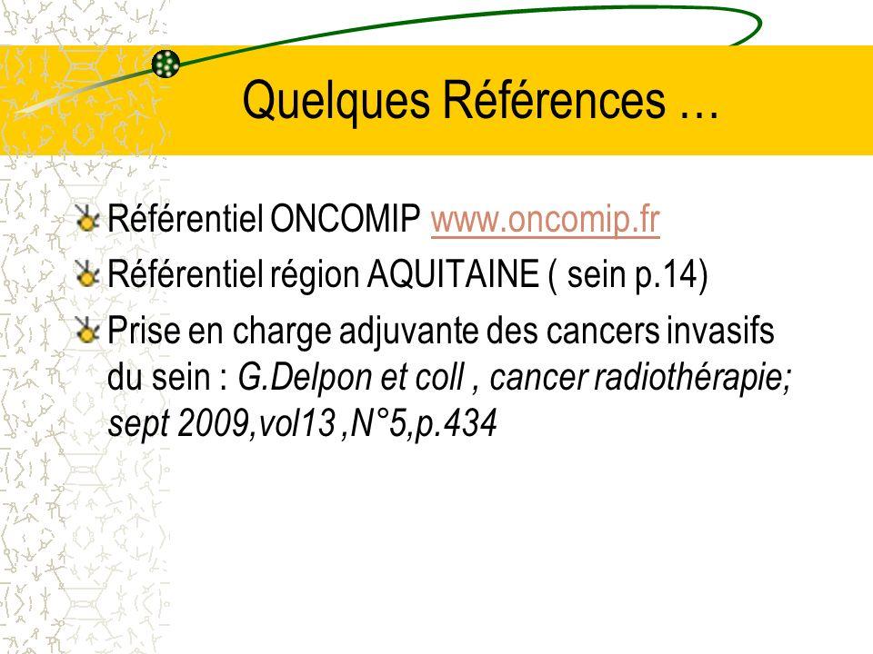 Quelques Références … Référentiel ONCOMIP www.oncomip.frwww.oncomip.fr Référentiel région AQUITAINE ( sein p.14) Prise en charge adjuvante des cancers