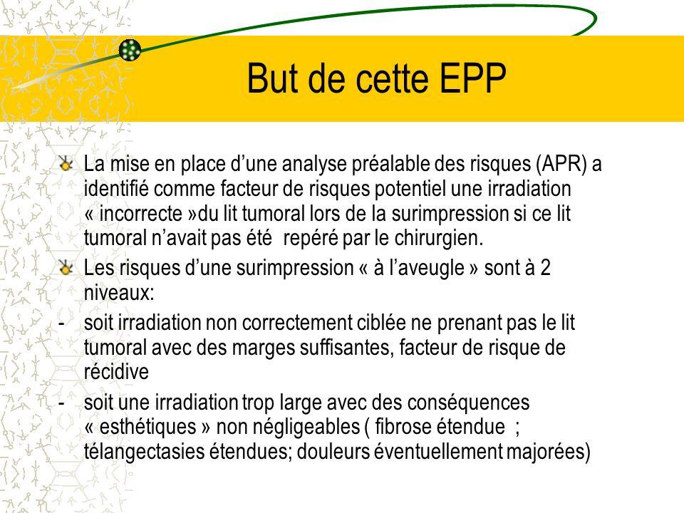 But de cette EPP La mise en place dune analyse préalable des risques (APR) a identifié comme facteur de risques potentiel une irradiation « incorrecte
