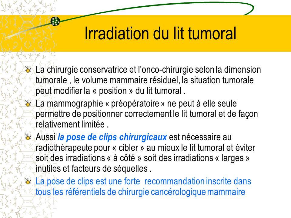 Irradiation du lit tumoral La chirurgie conservatrice et lonco-chirurgie selon la dimension tumorale, le volume mammaire résiduel, la situation tumora