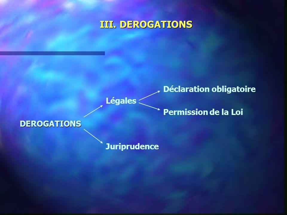 III. DEROGATIONS Déclaration obligatoire Légales Permission de la LoiDEROGATIONS Juriprudence