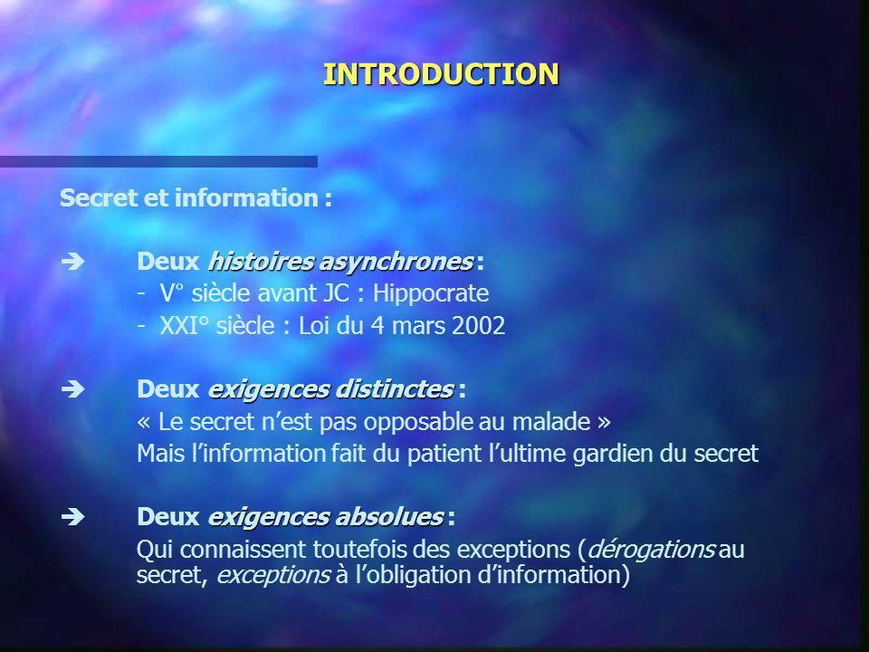 INTRODUCTION Secret et information : histoires asynchrones Deux histoires asynchrones : - V° siècle avant JC : Hippocrate - XXI° siècle : Loi du 4 mar