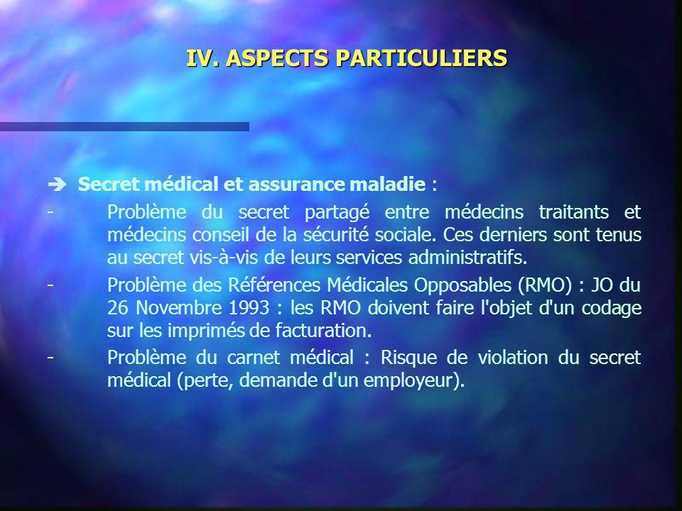 IV. ASPECTS PARTICULIERS Secret médical et assurance maladie : -Problème du secret partagé entre médecins traitants et médecins conseil de la sécurité