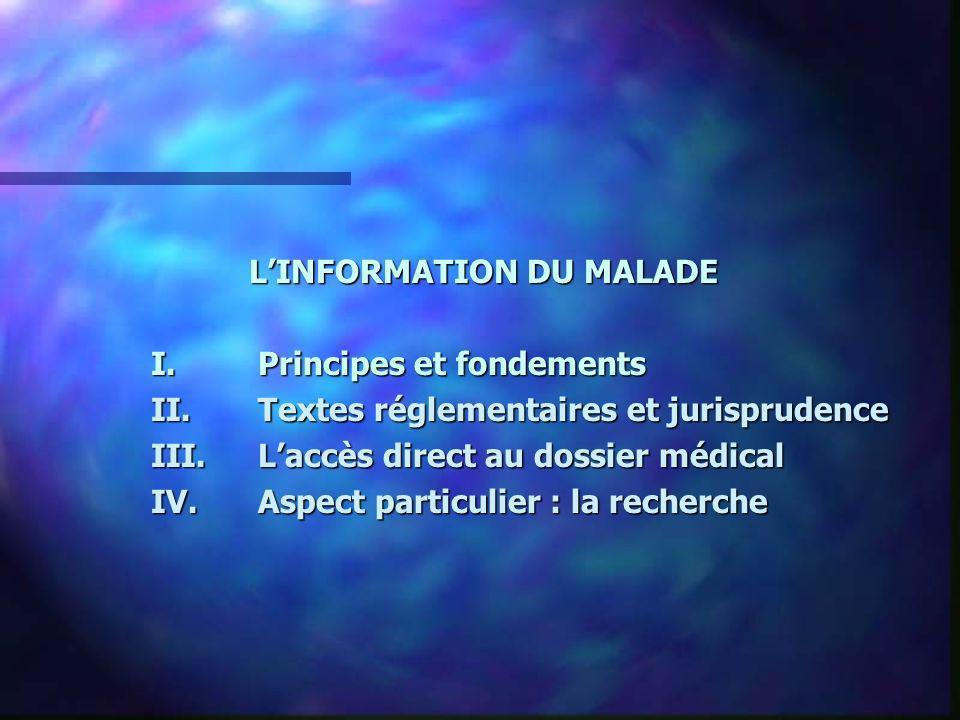 LINFORMATION DU MALADE I.Principes et fondements II.Textes réglementaires et jurisprudence III.Laccès direct au dossier médical IV.Aspect particulier