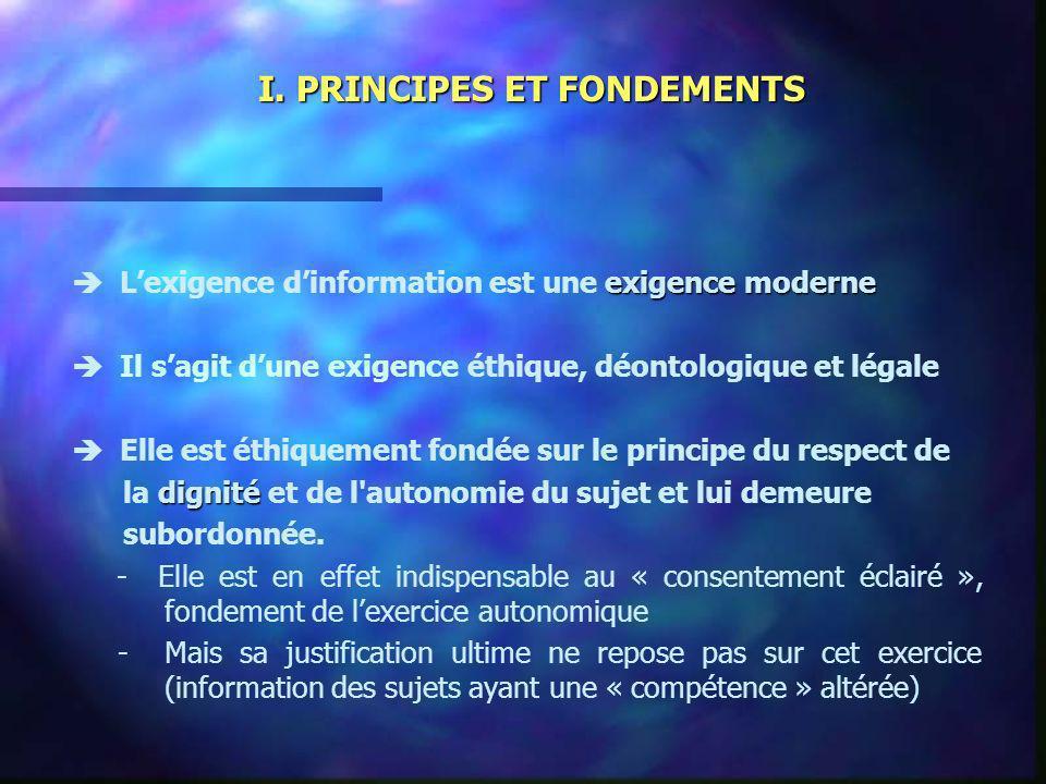 I. PRINCIPES ET FONDEMENTS exigence moderne Lexigence dinformation est une exigence moderne Il sagit dune exigence éthique, déontologique et légale El